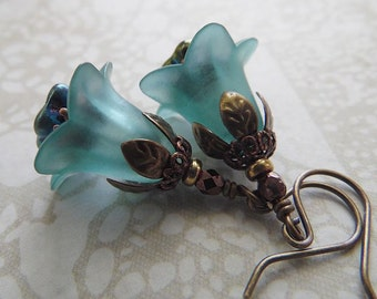 Aqua Flower Earrings with Czech Glass and Antique Copper and Brass