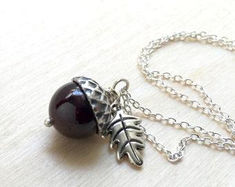 January Birthstone Garnet Acorn Necklace   Acorn Necklace   January Birthday Necklace    Garnet Acorn Charm Necklace   Nature Jewelry