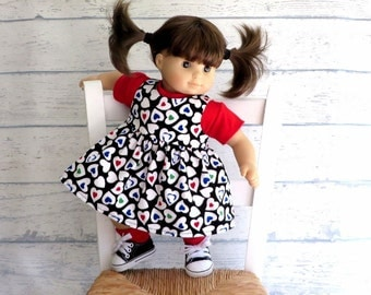 15 inch Doll Clothes Corduroy Jumper with Red Tee Shirt Outfit