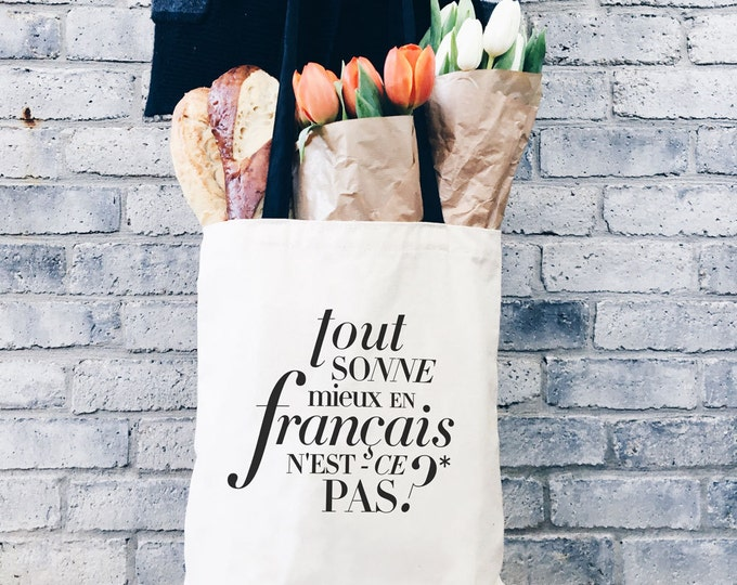 Better in French Canvas Tote, Book Bag for College Student Gift for Her, Funny Tote Bag with Pockets, Funny Gift for Girlfriend