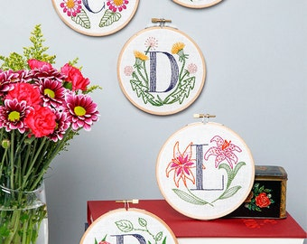 Floral Monogram Embroidery Kit - Personalized Gift, DIY