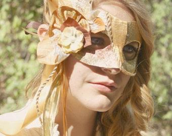 Cindergold - OOAK Cinderella Inspired Masquerade Mask in Bright Gold - Spring Wedding Masquerade