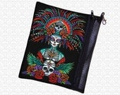zippered pouch, Myka Jelina beautiful bones, art supply bag, wristlet, travel bag, aztec goddess day of the dead dia de los muertos