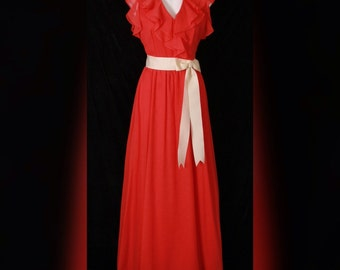 70's Coral V Neck Flutter Sleeve MAXI Sun Dress TALL Gals