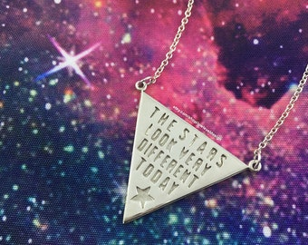 """David Bowie """"The Stars Look Very Different Today"""" Space Oddity Lyric Necklace"""