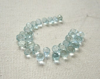Tiny Aquamarine Faceted Briolettes 3.5x5mm to 3.75x5.75mm - 30 Beads