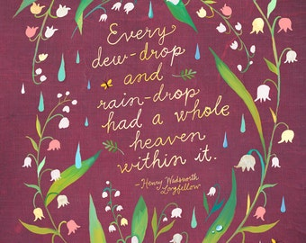 Dewdrop art print | Henry Wadsworth Longfellow Quotation | Floral Wreath | Inspirational Quotation | Katie Daisy Wall Art | 8x10 | 11x14