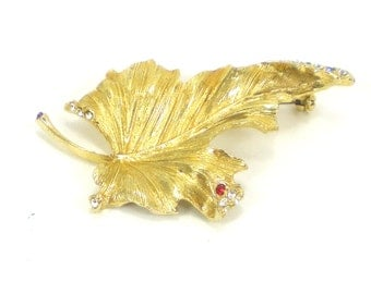 Gold Rhinestone Leaf Brooch Pin Vintage Autumn Fall Jewelry