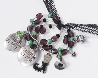 WITCHY wine charms - Set of 4 drink markers for mugs & stemware