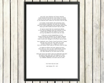Lord Byron Romantic Poetry Printable Download 'The First Kiss of Love' Instant Download Love Print Digital Poetry Poster Literary Gift
