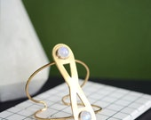 Moonstone cuff, statement cuff, brass cuff, infinity, wire cuff // INFINITE ORBIT CUFF