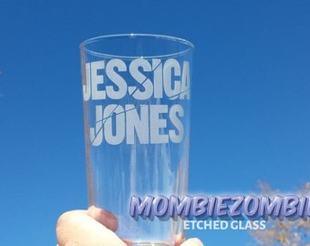 Jessica Jones Etched Drinking Glass