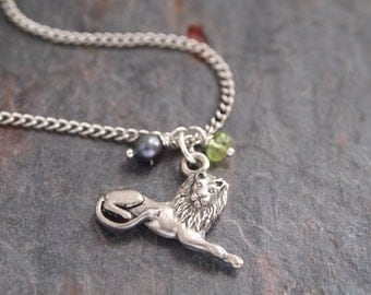 Gemstone and Lion Necklace