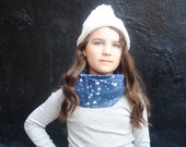Galaxy Scarf, Organic Scarf for Kids, Blue Night Sky, Organic Cotton Knit Tube Scarf, Fall Fashion, Winter Scarf
