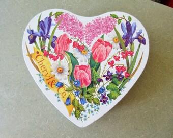 Vintage Tin, Heart Tin, Cheryl and Co., Heart Shaped Tin, Gift Tin, Floral, Flowers Tin, Lidded Storage, Home Decor, Storage Tin, Gift Box