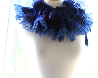 Ruffle Neck Warmer - Fall Fashion Collar in Navy by Mademoiselle Mermaid