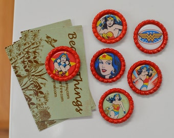 Wonder Woman Bottlecap Magnets- Superhero Strong Bottlecap Magnets- Justice League- DC Comics- Kitchen Magnets- Wonder Woman Gift