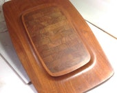 Teak Wood Mid-Century Modern Dansk Cutting Board - Cheese Serving Tray - Denmark - Four Ducks Mark - IHQ Quistgaard Danish Modern Decor