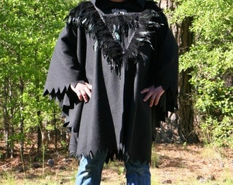 Game of Thrones Cloak Black Fleece Hooded Feathered Jon Snow Cape with Dragon Clasp READY TO SHIP