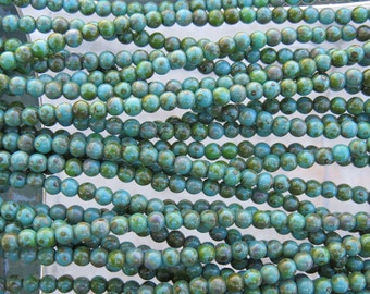 4mm Opaque Green Turquoise Picasso Czech Glass Round Beads - Qty 100 (BS316)