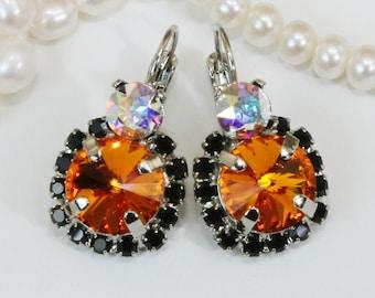 Halloween Earrings Black Orange Bengals Halloween Jewelry Orange Black large Drop Halo Earrings,Swarovski Crystals,Silver,Tangerine,SE102