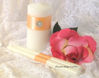 Apricot Unity Candle Set Wedding Candle Peach Unity Candle Bling Unity Candle Cheap Unity Candle Ribbon, Candle Size & Color Choice