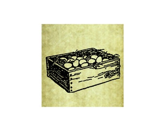 CHICKEN EGG CRATE Rubber Stamp~Chicken Stamp~Chicken Eggs~ Vintage Wood Box with Eggs~Farm Stamp~ Large Cling Stamp (51-23)