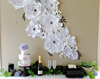 Paper Flower Backdrop. Photo Backdrop. Photo Booth - PRE-ASSEMBLED Flowers. Wedding Photo Backdrop. Baby Shower Decor