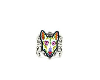 Bull Terrier - Day of the Dead Sugar Skull Dog Adjustable Ring