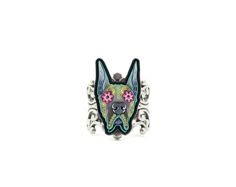 SALE Regularly 14.95 - Great Dane Ring - Cropped Ear Edition - Day of the Dead Sugar Skull Dog Adjustable Ring