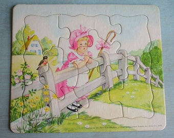 Vintage 1952 Platt & Munk Little Bo Peep Nursery Rhyme Jigsaw Tray Puzzle 8 pc