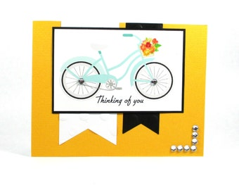 Thinking of you card, handmade thinking of you card, bike, bicycle, hello, just because, friends, friendship cards