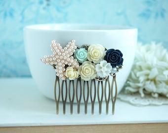 Starfish Comb, Mint, Navy Rhinestone Flower Comb, Bridesmaid Gifts, Nautical Beach Theme, Navy Blue Wedding Beach Wedding, Gifts for Her