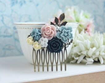 Bridal Wedding Comb Powder Blue Baby Pink Navy Blue Ivory Collage Hair Piece Bridesmaids Gift, Dusty Blue Pink Wedding Cottage Chic Country