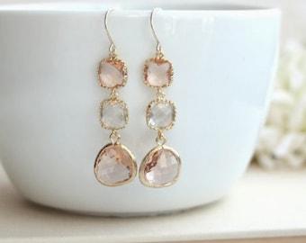 Peach Earrings, Champagne Peach Earrings Clear and Peach Peach Dangle Long Earring. Modern Earrings,  Peach Gold Wedding Bridesmaid Earrings