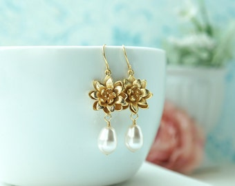 Lotus Earrings, Gold Lotus Flower Earrings, Water Lotus Earrings, Teardrop Pearls Dangle Earrings, Water Lily Earrings, Bridesmaids Gifts,
