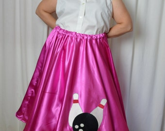 Pink Poodle Skirt, Plus Size, Pink Satin, Bowling Ball, Elastic Waist, Curvy Girls, Sock Hop Skirt, 50s Styled Skirt