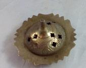 Vintage Brass Cone Incense Holder Floral Pattern