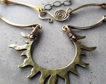 Solar Passion Necklace, Sun, Flames, Solar Plexus Chakra, NuGold, Gypsy, Kali the Fire Dancer, Belly Dancer, Handmade