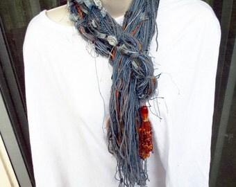 Handmade Bohemian Charmed String Scarf In Grays