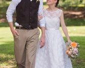 lace wedding dress floor length, heart cutout back - Other COLORS Available - AMANDA style