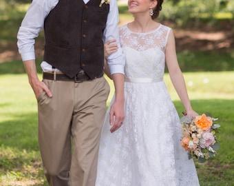 Lace Wedding Dress Floor Length Heart Cutout Back