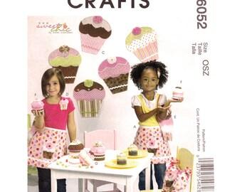 Cupcake Party Decor Pattern McCalls 6052 Childs Apron Cupcake Wall Hanging Headband Purse Treat Bag Gift Box Craft Sewing Pattern UNCUT