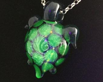 UV Silver Galaxy Turtle Pendant
