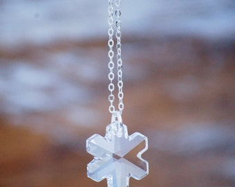 Swarovski Crystal SNOWFLAKE Necklace Frozen Snow Winter Wedding Sterling Silver 14K Gold