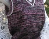 vintage ITALIAN METALLIC sweater vest of Dark magenta, black and silver