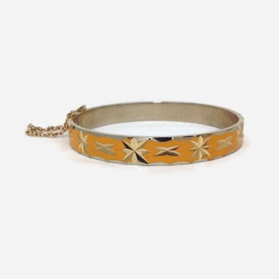 Enamel Bangle Bracelet, Yellow, Starburst, Hinged, Gold Tone, 1970s