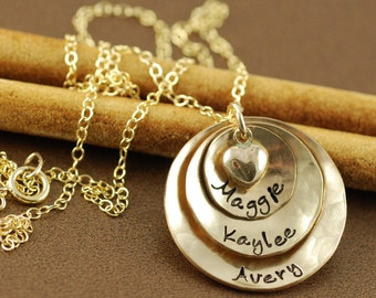 Gold Mommy Necklace, Hand Stamped Necklace, 14kt Gold Filled Necklace, Personalized Mom Necklace, Mother Jewelry, GIft for Mom