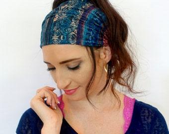 Wide Headband Indigo Blue Tribal Head Wrap Yoga HeadBand Stretchy Cotton Acrylic Turband Scarf Turband Hair Wrap