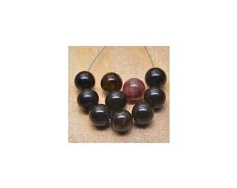 Tourmaline beads  , 7mm  Natural Tourmaline ,  Smooth Round Gemstone  Beads , 12Pcs